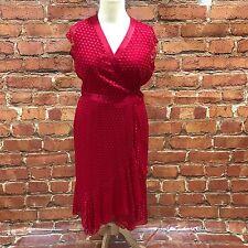 HOBBS Bright Red Polka Dot Wrap Casual Lightweight Summer Dress Size 14 16427