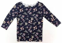 ANN TAYLOR Scalloped Boatneck 3/4 Sleeve Tee - Floral Print