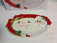 Fitz & And Floyd Be Merry Christmas Santa Sentiment Serving Tray New