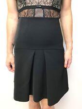 CUE a line skirt black sz 6 unlined pleat detail
