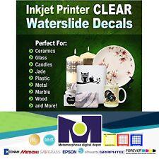 "10 sheets DIY Inkjet Waterslide Decal Paper Clear Water Slide Paper 11""x8.5"""