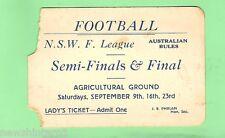 #D62. EARLY  NSW AUSTRALIAN RULES FOOTBALL SEMIS  & FINAL LADY'S TICKET