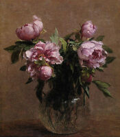 Dream-art Oil painting Henri Fantin Latour - Vase of Peonies flowers hand paint