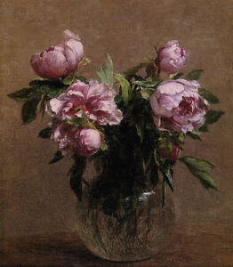 Dream-art Oil painting Henri Fantin Latour - Vase of Peonies flowers hand paint