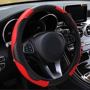 38CM Car Cover Steering Wheel  Glove Protector Carbon PU Leather Universal Red