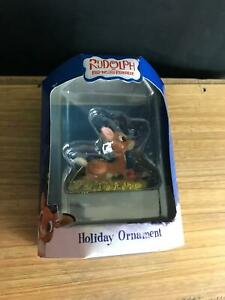 RARE NIB Enesco Rudolph the Red-Rosed Reindeer SITTING WITH RED BIRD ORNAMENT