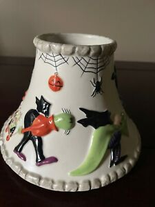 Yankee Candle Large Jar Halloween ceramic shade Topper monsters bats witch NWT
