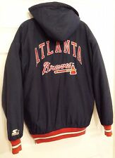 Atlanta Braves MLB Authentic Starter Insulated Jacket with Hood Navy M Medium