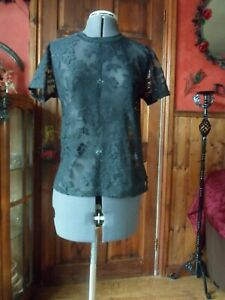 Gothic, Steampunk, Victorian, Boho . Black, Lace T Shirt Style Top.