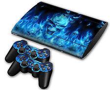 Ps3 PlayStation 3 Super Slim Skin Design Foils Sticker Screen Protector Blue