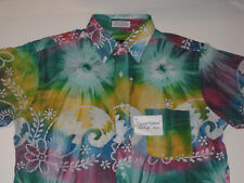 NEW MEN'S VINTAGE 1980s BRIGHT PATTERN SHIRT MADE IN USA! INDIA FABRIC! NWT ! M