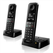 Philips D455 Duo Telefon analog schnurlos mit Anrufbeantworter schwarz