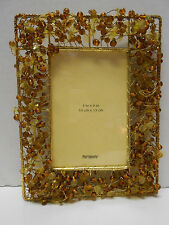 """Amber Gold  Beaded Picture Frame By Pier 1 Imports 4"""" x 6"""" Gift Boxed"""