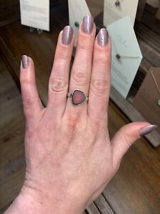 Watermelon Tourmaline and Sterling Silver Ring Size 7.5