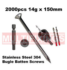 2000pcs - 14g x 150mm Stainless Steel 304 Bugle Head Screws + SmartBit Tool