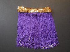 """NWOT  9"""" Length Purple Chainette Fringe Skirt Gold Flat Sequin Waistband"""