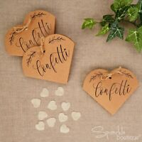 BROWN KRAFT THROWING CONFETTI BOXES/CONES -With Ivory Biodegradable Heart Pieces
