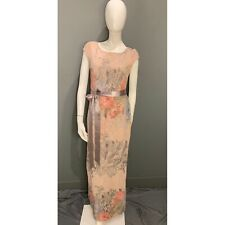 Adrianna Papell Floral Matelasse Gown Dress English Rose Sz 6