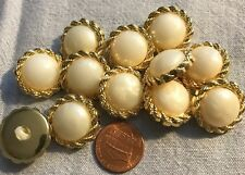 "12 Gold Tone PLASTIC Domed Faux Pearl Center Buttons 13/16"" 20MM Lot # 2799"