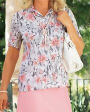 Hip Length Polyester Collared Floral Tops & Shirts for Women
