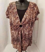 Womens Brown White Black Design Layer LOOK Shirt Top Blouse Size L OR XL
