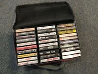 lot of 30 RARE, eclectic Out of print cassettes. Free RARE red CASELOGIC holder