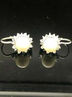 14K White Gold 0.40ctw Diamond Round Cut Natural Pearl Dangle Leverback Earrings