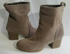 White Mountain Suede Womens Bernata Pull On Ankle Bootie Taupe Size 9 M US EUC