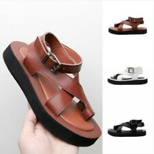 Summer Sandals Ladies Thick Flat Heel Buckle Strap Slingbacks Sandals Leather SZ