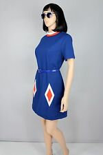 Mod Blue Mini Dress Career Festival Scooter Party Solid Shift Vintage 60s S