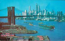 USA Brooklyn Bridge East River and Lower Manhattan Skyline New York 03.77