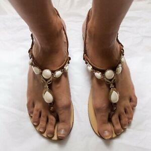 Italian Handmade Leather Sandals With Pearls Size 10 (40)