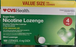 CVS SUGAR FREE NICOTINE LOZENGE 4 mg. 168 LOZENGES MINT FLAVOR EXP 6/20