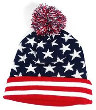 USA AMERICAN FLAG PRINT CUFFED POM BEANIE HAT KNIT CAP SKI PATRIOTIC UNCLE SAM