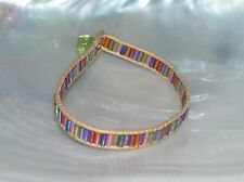 Estate Tan Cord with Rainbow Glass Tubular Beads Bracelet with Button Clasp –