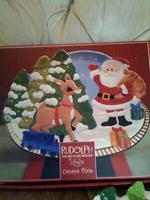 Lenox Rudolph Decorative Holiday Christmas Canape Plate Platter Cookies Santa