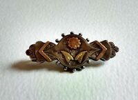 Antique Victorian Engraved Hallmark Silver Yellow Rose Gold C Clasp Brooch 1890