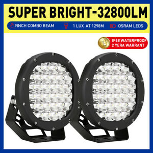 PAIR CREE 8inch LED Driving Lights Combo Beam Offroad 4x4 Truck Work BLACK Round