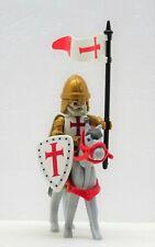 KREUZRITTER TEMPELRITTER GOLD ZU PFERD MIT FAHNE PLAYMOBIL Crusader Templer RAR
