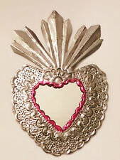 Unique Mexican Tin Mirror Flamed Heart Wall Hanging Ornament Hand Punched 05