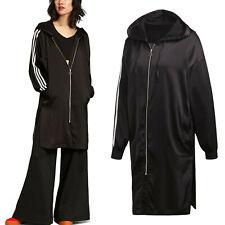 adidas Originals Womens Satin 3 Stripe Full Zip Hoodie New Long Hoody Jacket Top