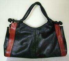 Vintage 70s Italian black brown leather shoulder baguette bag handbag tote