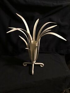 """Shabby Chic Art Abstract Metal Vase Off White Silver 14"""" Tall, Decor for Home"""