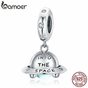 BAMOER Authentic S925 Sterling Silver Spaceship Charm Pavé CZ Bead For Bracelet