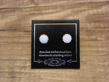 Native American Sterling Silver White Opal Dot Post Baby Earrings! Navajo Indian