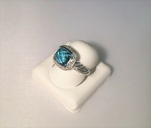 Authentic Sterling Silver Noblesse Blue Topaz Diamond Ring by David Yurman