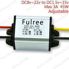 3A Waterproof DC-DC 8-22v to 3.3V 5V 9V 12V 15V Buck Step Down Voltage Converter