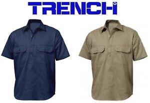 Cotton Drill 1/2 Closed Front Shirt - Short Sleeve - Navy-Khaki