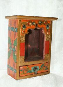 Schrein Altar Tibetischer Hausaltar Holz Orange Nr.26  DORJE NEPAL BUDDHA TIBET