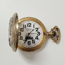 Train Railroad Design Pocket Watch Majestron Gold Tone Pewter Modern Quartz